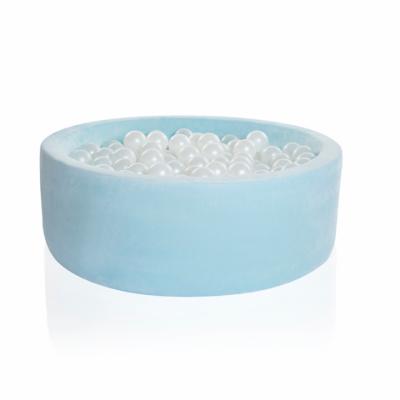 Kidkii Bällebad Rund 90 x 30 cm, Baby Blue Velour (mit 200 weissen Pearl Bällen)