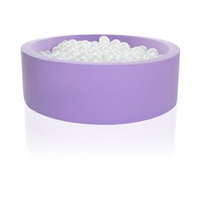 Kidkii Bällebad Rund 90 x 30 cm, Sweet Purple Velour (mit 200 weissen Pearl Bällen)