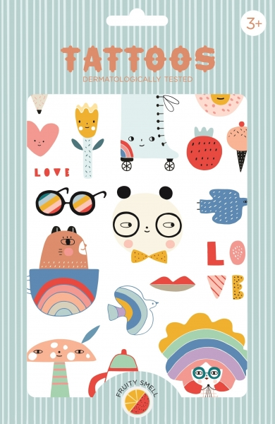 Petit Monkey Kinder-Tattoos, Panda Love