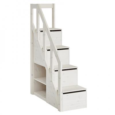 Treppenmodul für Hochbett, Etagenbett, Familienetagenbett, Whitewash