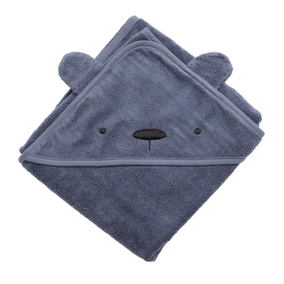 Sebra Kapuzenbadetuch, Milo der Bär, bramble blue