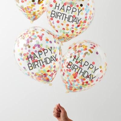 Ginger Ray Konfettiballone Happy Birthday, Regenbogen