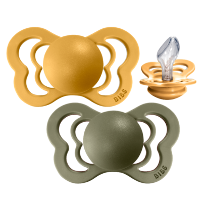 BIBS Couture Silikon Schnuller (2er Pack), Honey Bee & Olive (Grösse 1, 0-6M)