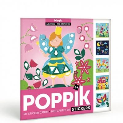 Poppik Meine Stickerkarten, Magie (6 Karten + 360 Stickers)