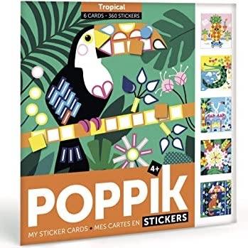 Poppik Meine Stickerkarten, Tropen (6 Karten + 360 Stickers)