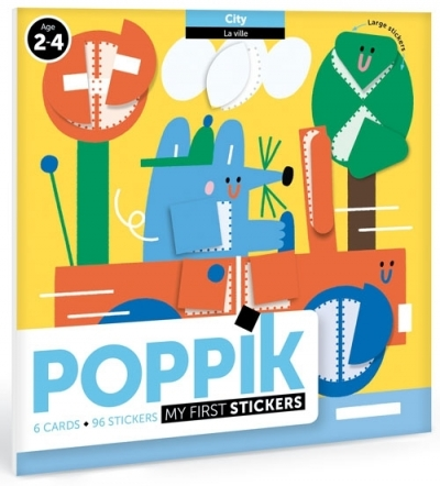 Poppik Meine erste Stickers, City (6 Karten + 96 Stickers)