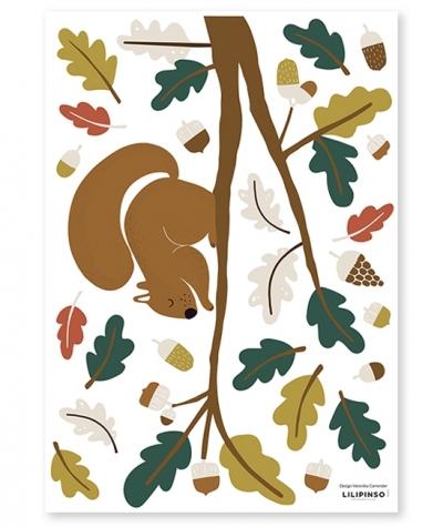 Lilipinso Wandsticker, Eichhörnchen/ grüne Blätter