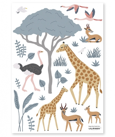 Lilipinso Wandsticker Dekoration, Giraffe, Gazelle, Flamingo