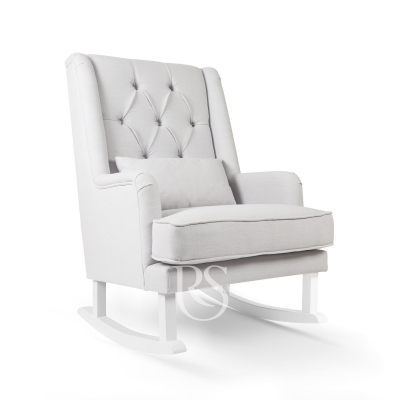 Rocking Seats Stillsessel Royal Rocker, Silbergrau mit weissen Beinen