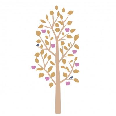 MIMIlou Wandsticker, kleiner Apfelbaum - Senfgelb