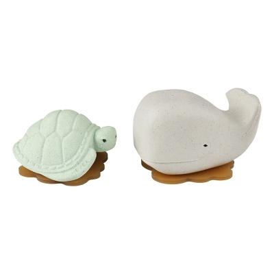 Hevea Badespielzeug Ingolf der Wal und Dagmar die Schildkröte, Frosty White + Sage