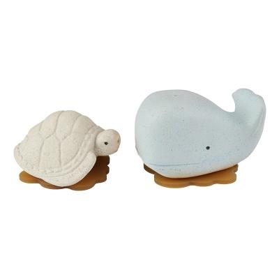 Hevea Badespielzeug Ingolf der Wal und Dagmar die Schildkröte, Blizzard Blue + Vanilla