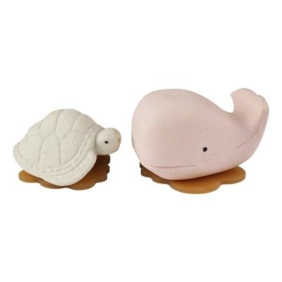 Hevea Badespielzeug Ingolf der Wal und Dagmar die Schildkröte, Champagne Pink + Vanilla