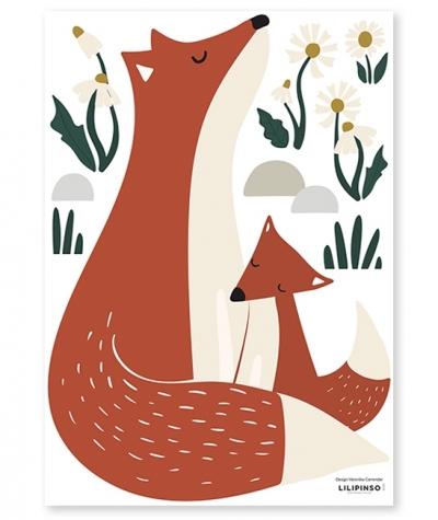 Lilipinso Wandsticker Dekoration, Fuchsfamilie