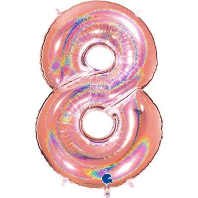 Grabo Folienballon Holo Rosé 100 cm, Zahl 8