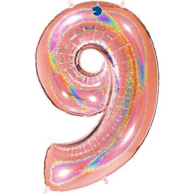 Grabo Folienballon Holo Rosé 100 cm, Zahl 9
