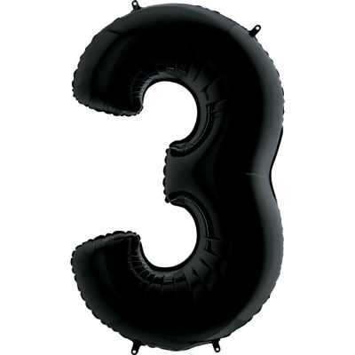 Grabo Folienballon Schwarz 100 cm, Zahl 3