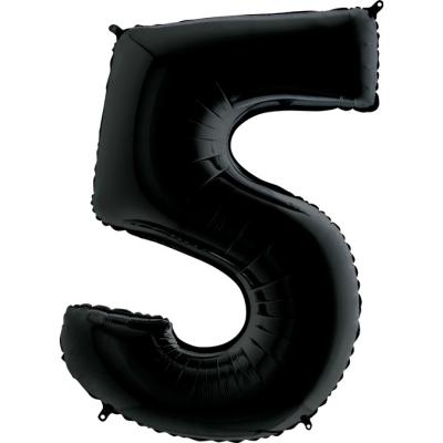 Grabo Folienballon Schwarz 100 cm, Zahl 5