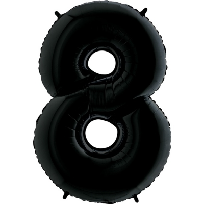 Grabo Folienballon Schwarz 100 cm, Zahl 8
