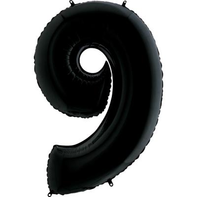 Grabo Folienballon Schwarz 100 cm, Zahl 9