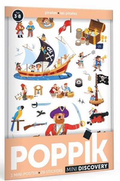 Poppik Stickerposter Discovery (1 Poster A4 + 30 Stickers), Piraten