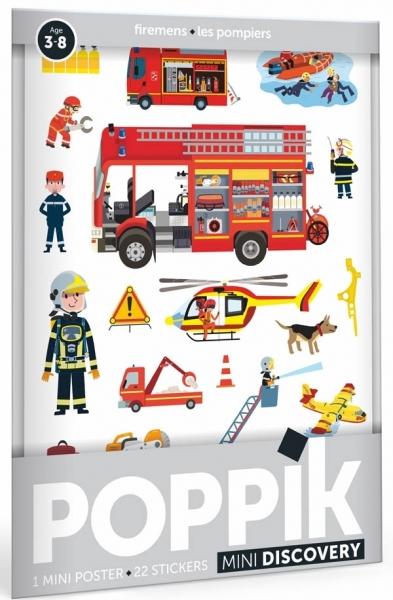 Poppik Stickerposter Discovery (1 Poster A4 + 22 Stickers), Feuerwehrleute