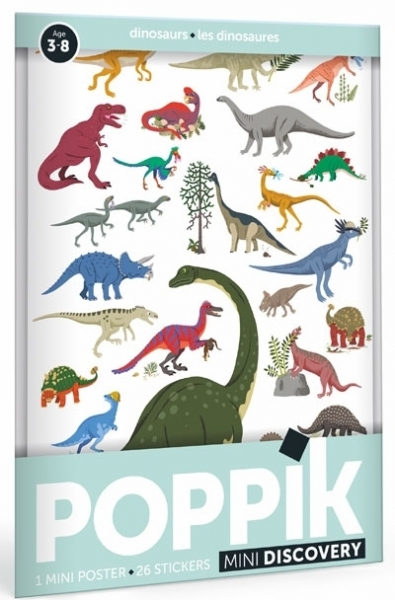 Poppik Stickerposter Discovery (1 Poster A4 + 26 Stickers), Dinosaurier