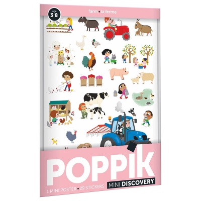 Poppik Stickerposter Discovery (1 Poster A4 + 26 Stickers), Bauernhof