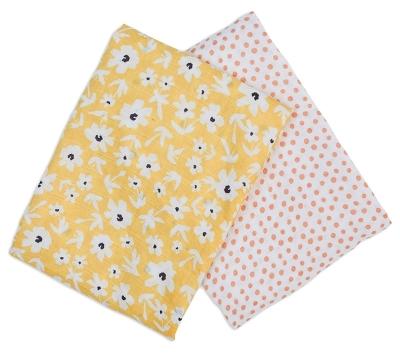lulujo Muslin Mulltuch, 2er Pack - Yellow Wildflowers + Dots