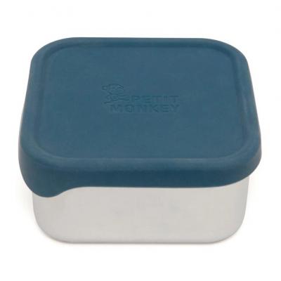 Petit Monkey Edelstahl Lunch Box mit Silikon Deckel, Lucy Balsam Blue