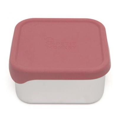 Petit Monkey Edelstahl Lunch Box mit Silikon Deckel, Lucy Mahogany Rose