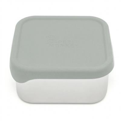 Petit Monkey Edelstahl Lunch Box mit Silikon Deckel, Lucy Sage Green