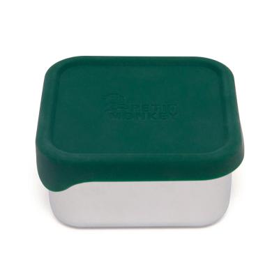 Petit Monkey Edelstahl Lunch Box mit Silikon Deckel, Mae Pine Green