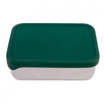 Petit Monkey Edelstahl Lunch Box mit Silikon Deckel, Riley Pine Green