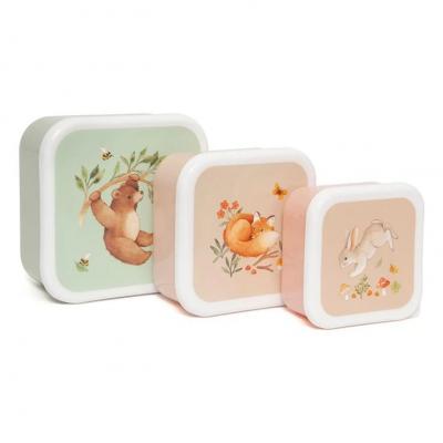 Petit Monkey Set 3 Snack-Dosen, Bear and his friends