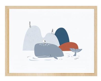 Lilipinso Poster mit Rahmen, Wal