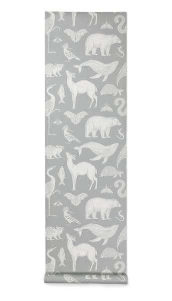 Ferm Living Katie Scott Wallpaper Tapete, Tiere Mint Grau