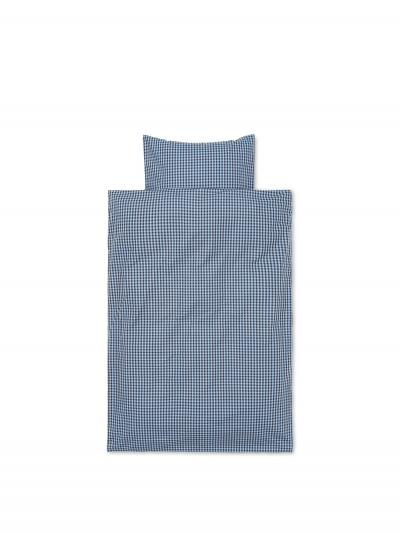 Ferm Living Bettwäsche-Set Kleinkind (100x140 und 60x63), Verblasstes Blau/Schokolade