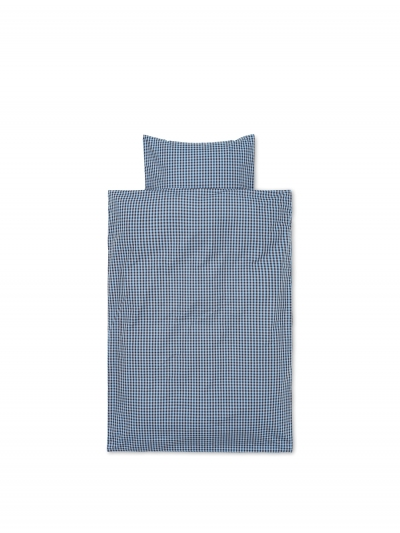 Ferm Living Bettwäsche-Set Erwachsen (140x200 und 60x63), Verblasstes Blau/Schokolade
