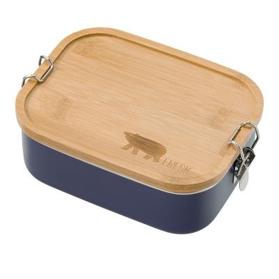 Fresk Edelstahl Lunch Box mit Holz Deckel, Nightshadow Blue