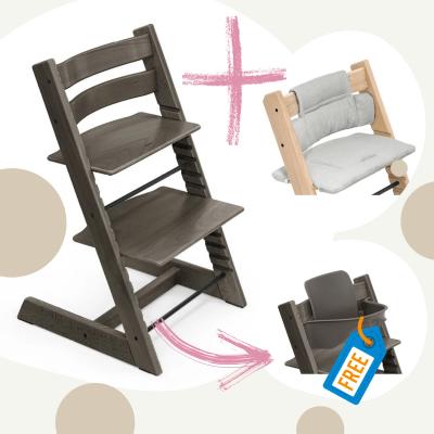 STOKKE Tripp Trapp Aktion Stuhl+Kissen = gratis Baby Set, Hazy Grey