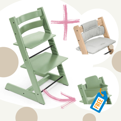 STOKKE Tripp Trapp Aktion Stuhl+Kissen = gratis Baby Set, Moss Green