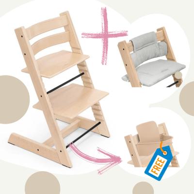 STOKKE Tripp Trapp Aktion Stuhl+Kissen = gratis Baby Set, Natur