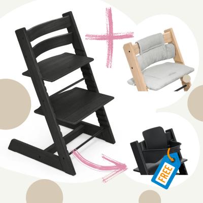 STOKKE Tripp Trapp Aktion Stuhl+Kissen = gratis Baby Set, Schwarz