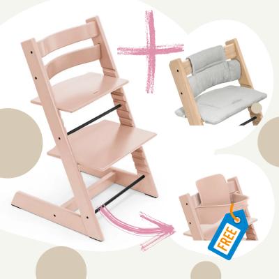 STOKKE Tripp Trapp Aktion Stuhl+Kissen = gratis Baby Set, Serene Pink