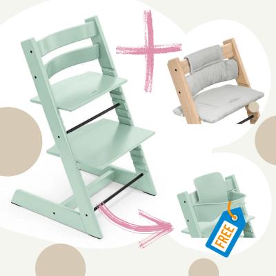 STOKKE Tripp Trapp Aktion Stuhl+Kissen = gratis Baby Set, Soft Mint