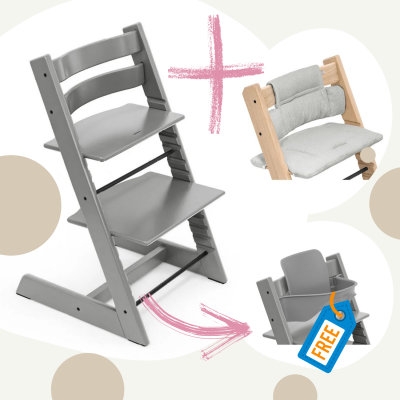 STOKKE Tripp Trapp Aktion Stuhl+Kissen = gratis Baby Set, Storm Grey