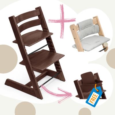 STOKKE Tripp Trapp Aktion Stuhl+Kissen = gratis Baby Set, Walnuss