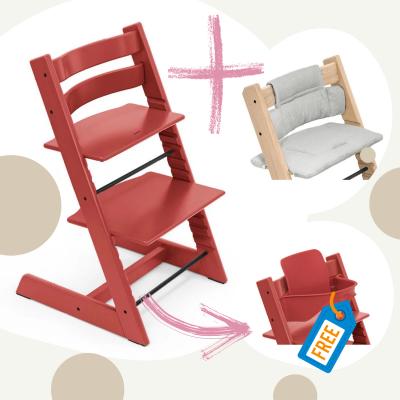 STOKKE Tripp Trapp Aktion Stuhl+Kissen = gratis Baby Set, Warm Red