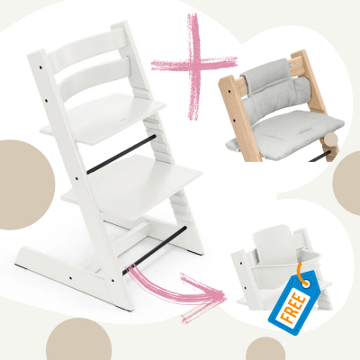 STOKKE Tripp Trapp Aktion Stuhl+Kissen = gratis Baby Set, Weiss